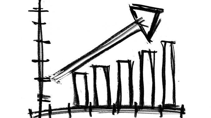 Eine einfache Skizze einer Skala, der Verlauf zeigt einen steigenden Kurs.