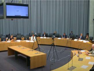 Politiker sitzen in einem Halbkreis um einen Bildschirm für die Anhörung im Gesundheitsausschuss.